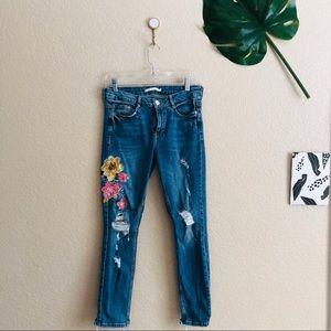 Floral Distressed Zara Jeans